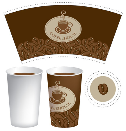 hot cup: paper cup for hot drink on the background of coffee beans Illustration
