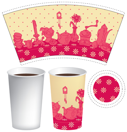 hot: paper cup for tea or coffee with dishes on the table with a tablecloth
