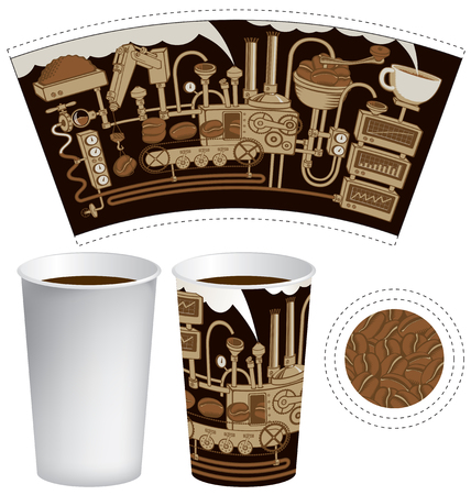 stove pipe: paper cup for tea or coffee with coffee machine with mechanisms in retro style Illustration