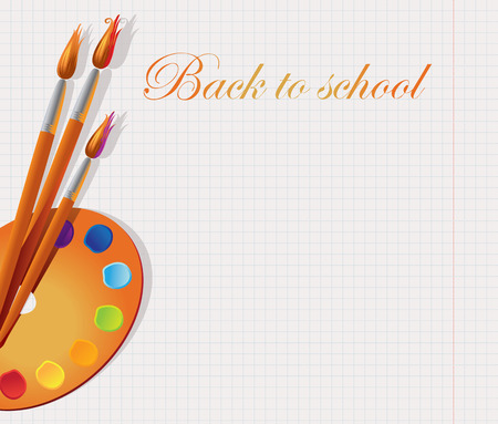 Background in the form of a notebook in the box with a palette and brushes, and an inscription back to school