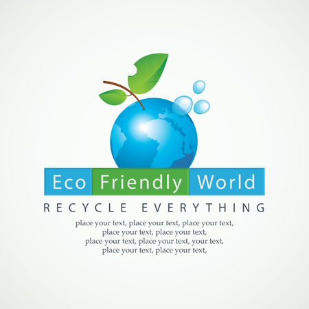 go green logo: Planet Earth in the spray of clean water and the inscription Eco Friendly World and recycle everything