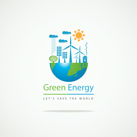 Planet Earth and solar panels and wind turbines and the inscription Green Energy