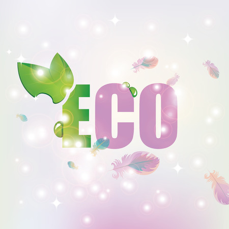 highlights: vector banner with the inscription Eco with leaves and dew on the background of feathers and highlights Illustration