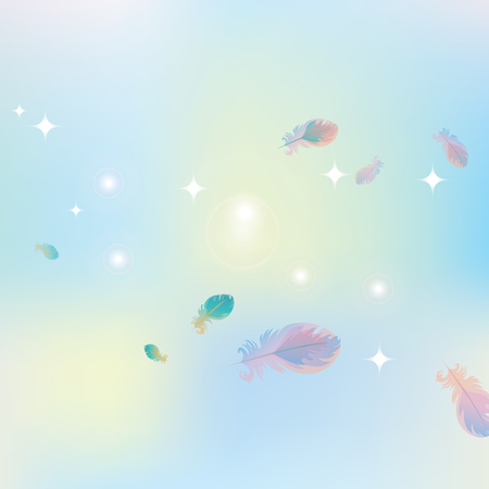 glare: abstract pink blue background of stars and glare with bird feathers Illustration