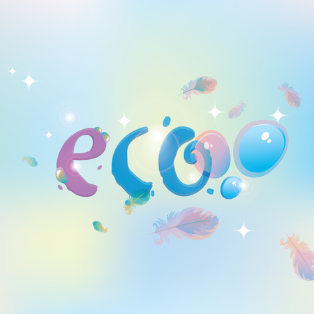 vector banner with the inscription Eco with dew drops and on the background of feathers and highlights