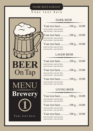 price list: beer menu with price list and picture wooden glass Illustration