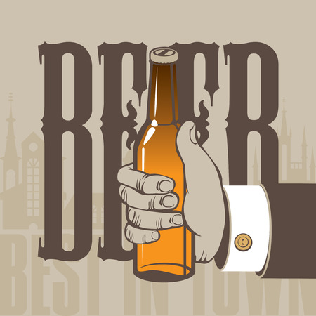best background: best beer in town. Hand with a bottle on the background of the old town