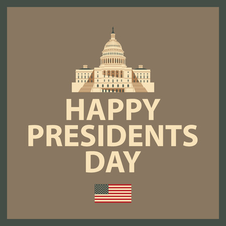 president day: banner with the Capitol in Washington with the words Happy President Day and American Flag