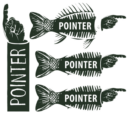 finger fish: set of pointers to the human hand and the fish skeleton and tail