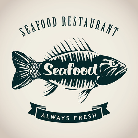 bleak: Vector banner with a picture of fish for seafood restaurant