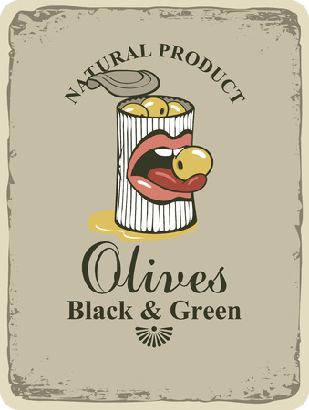 sexy tongue: Conserve tin of black and green olives and mouth and tongue in retro style Illustration