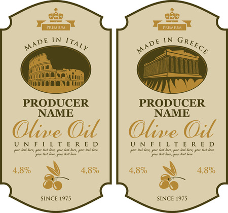 Label for olive oil Made in Italy and Greece with the image of Colosseum and Parthenon Illustration