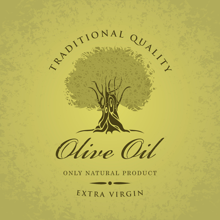 labeled: banner with olive tree and olive oil labeled