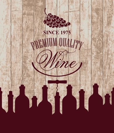 wine store: banner for the wine store or restaurant with bottles and grapes on the background of wooden boards Illustration
