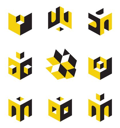 exterior element: set of abstract symbols on construction topics Illustration
