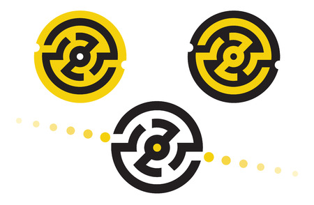set of abstract logo symbols in the form of a circular maze Illustration