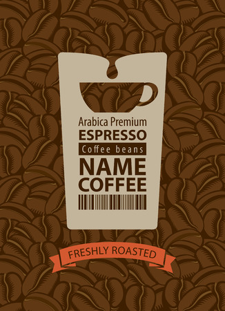 grains: design label for coffee beans with cup in retro