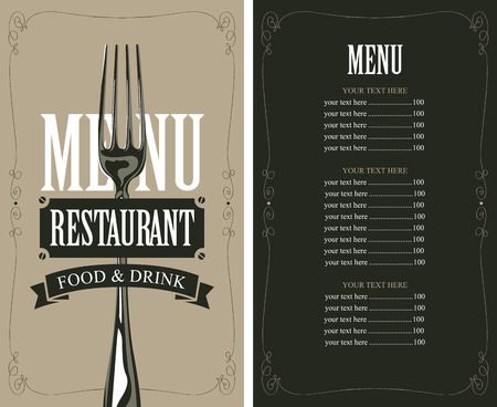 wit: menu with fork for the restaurant in retro style wit price