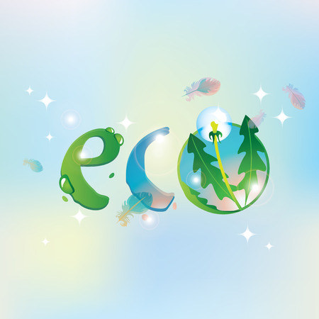 eco inscription on the background of the sky with feathers of birds and dandelion Illustration