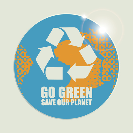 Go Green Eco Recycling Concept against the backdrop of the planet Earth