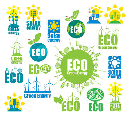 alternative energy: set of icons on the theme of environmental protection and alternative energy