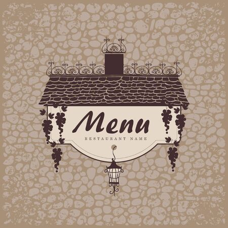 dine: banner for menu with the old roof lantern and grapes on a stone wall background
