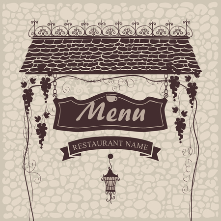 stone background: banner for menu with the old roof lantern and grapes on a stone wall background