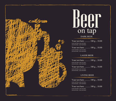 keg: menu with price list for a pub with a beer keg and a glass