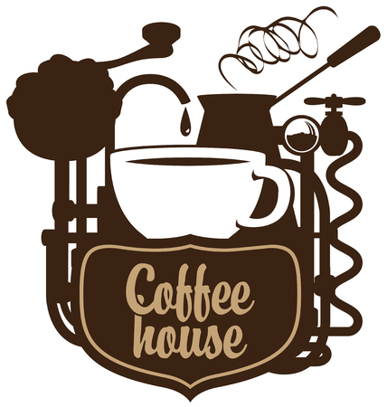 coffee house: banner for coffee house with a cup and coffee machine in retro