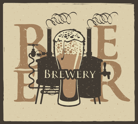 armorial: banner for the brewery with a glass of beer and brewing machine
