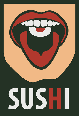 tongues: Japanese food with human mouth eating sushi in a retro style Illustration