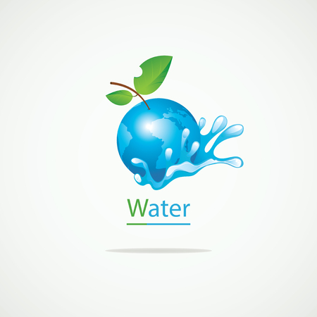go green logo: Planet Earth in the spray of clean water