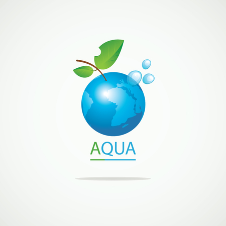 go green logo: Planet Earth in the spray of clean water and the inscription aqua Illustration