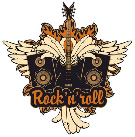 emblema con una chitarra elettrica, ali, altoparlanti e scritta rock and roll