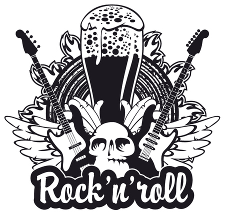 Banner for the pub with live music and electric guitar and human skull