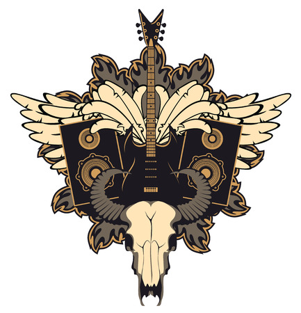 emblem with an electric guitar, wings, speakers and cow skull Illustration