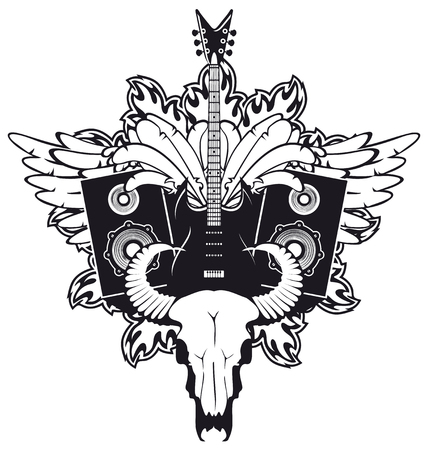 cow skull: emblem with an electric guitar, wings, speakers and cow skull Illustration