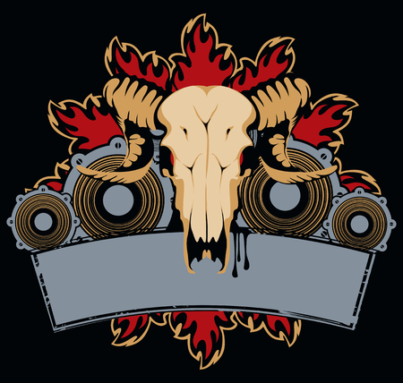acoustics: emblem with goat skull, wings and speakers