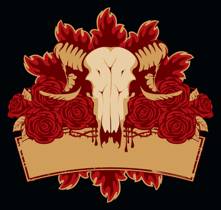 roses and blood: emblem with skull sheep roses and place for an inscription Illustration