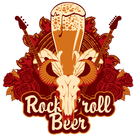 Banner for the pub with live music and electric guitar and bull skull and roses