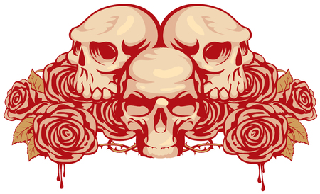 satanism: emblem with three human skulls and rose