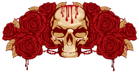 satanism: emblem with human skull and rose and a drop of blood
