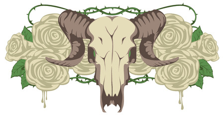 heavy metal: emblem with skull sheep and flowers roses