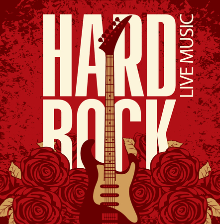 guitarra: banner con una guitarra eléctrica entre las rosas de las flores y las palabras Hard Rock