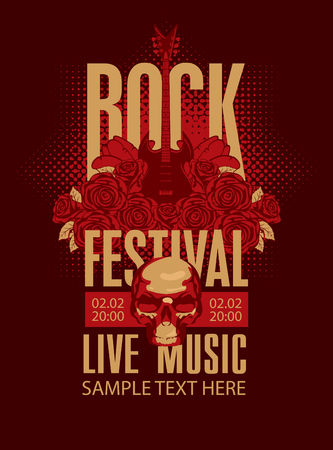 metal music: music poster with an electric guitar among flowers roses and the words Rock festival