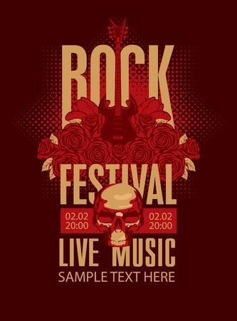 gitara: plakat muzyczny z gitara elektryczna wśród kwiatów róż i festiwalu słowa: Rock