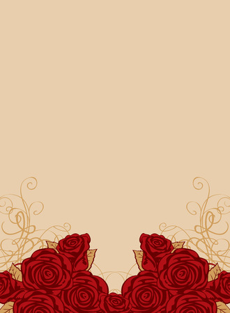 whorl: background with space for text and frame of roses Illustration
