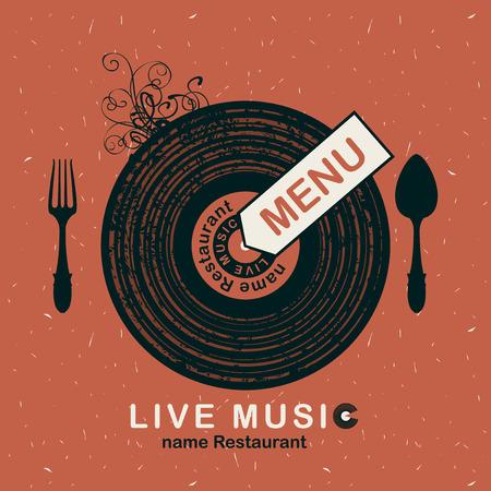bandera para el menú del restaurante con música en vivo con dibujos de vinilo y cubertería