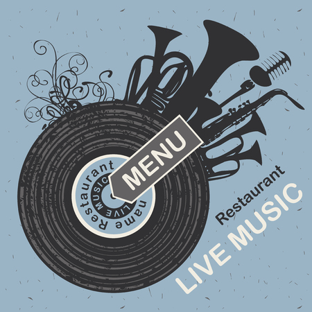 curlicues: banner for menu restaurant with live music patterned vinyl and musical instruments