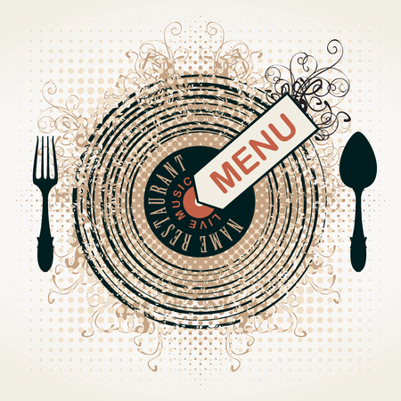 curlicues: banner for menu restaurant with live music patterned vinyl and cutlery Illustration